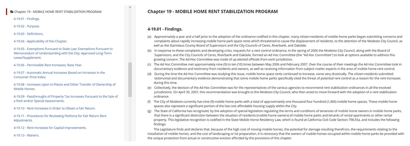 Modesto, California - Mobile Home Rent Stabilization Program