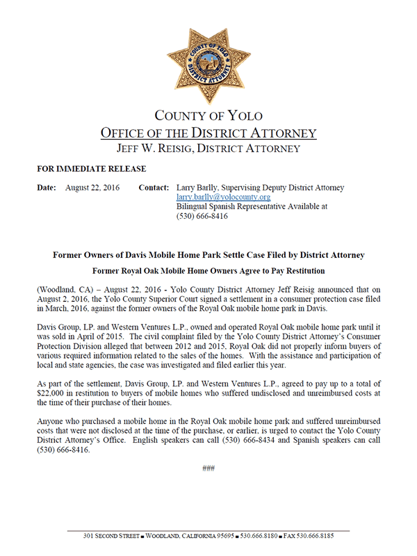 County of Yolo Press Release 2016-08-22