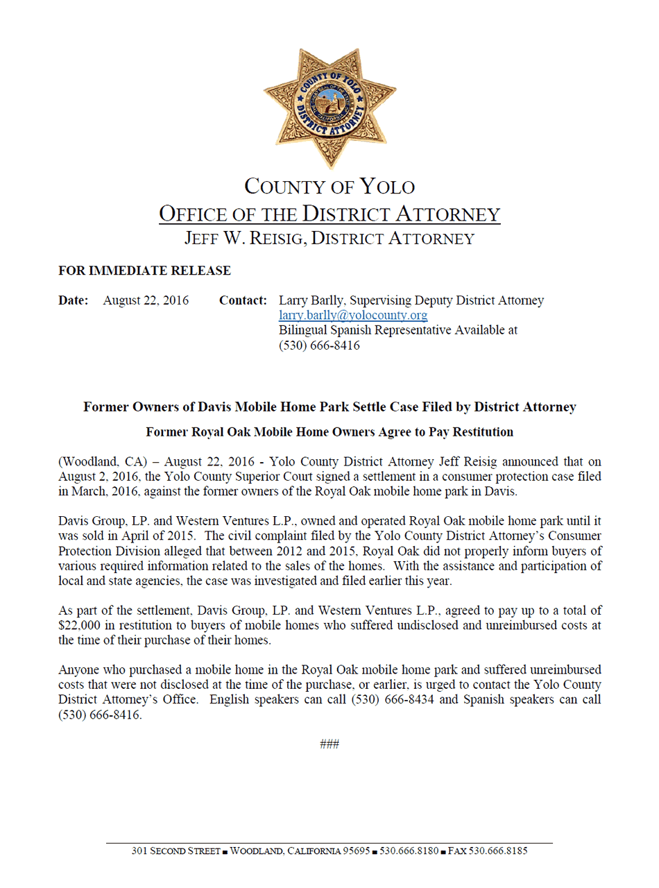 Yolo County District Attorney Press Release