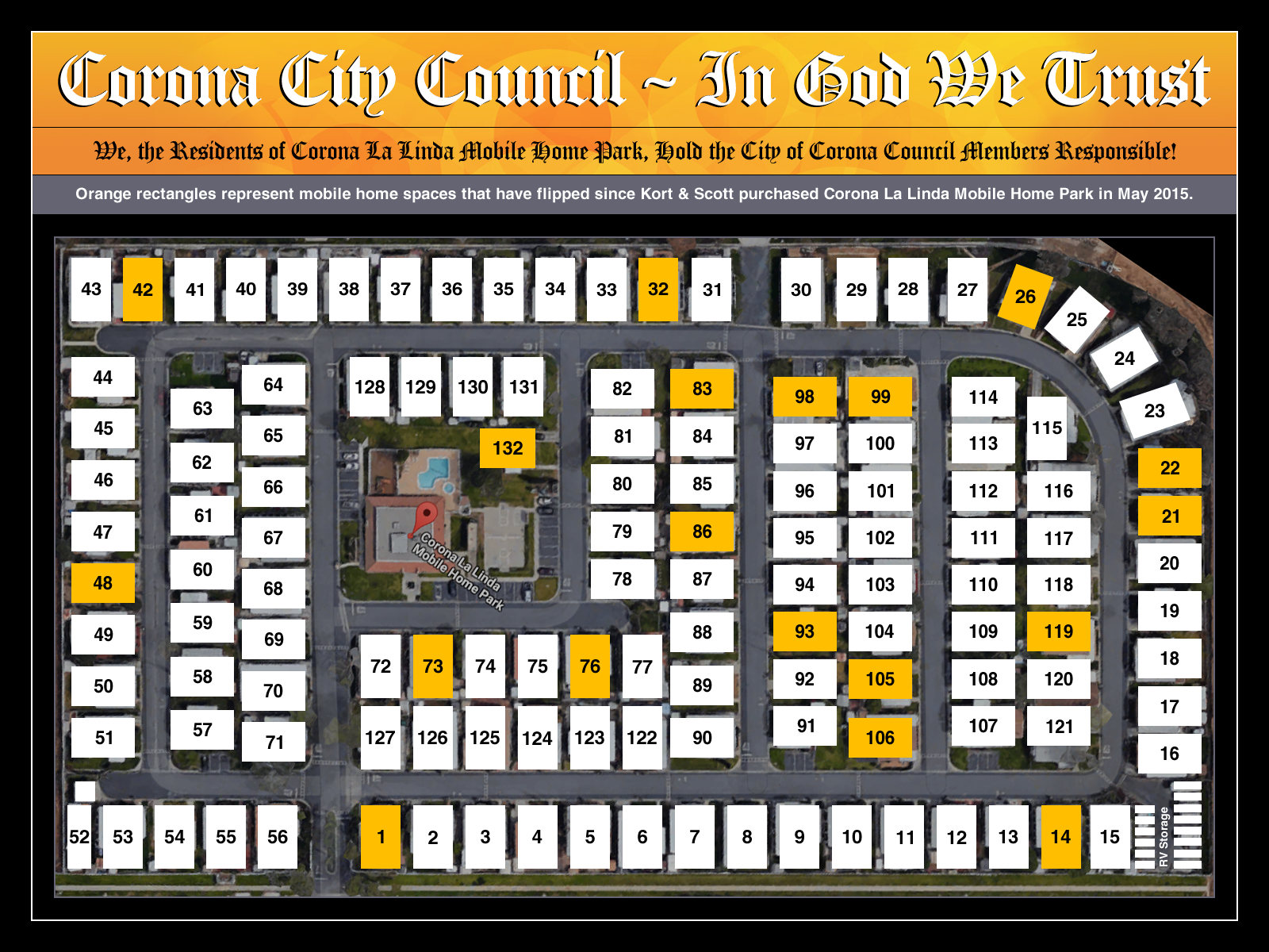Corona La Linda Mobile Home Park Map