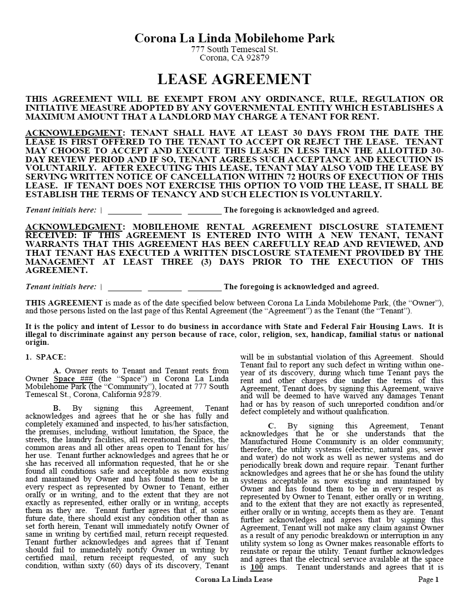 Corona La Linda Mobile Home Park Lease Agreement