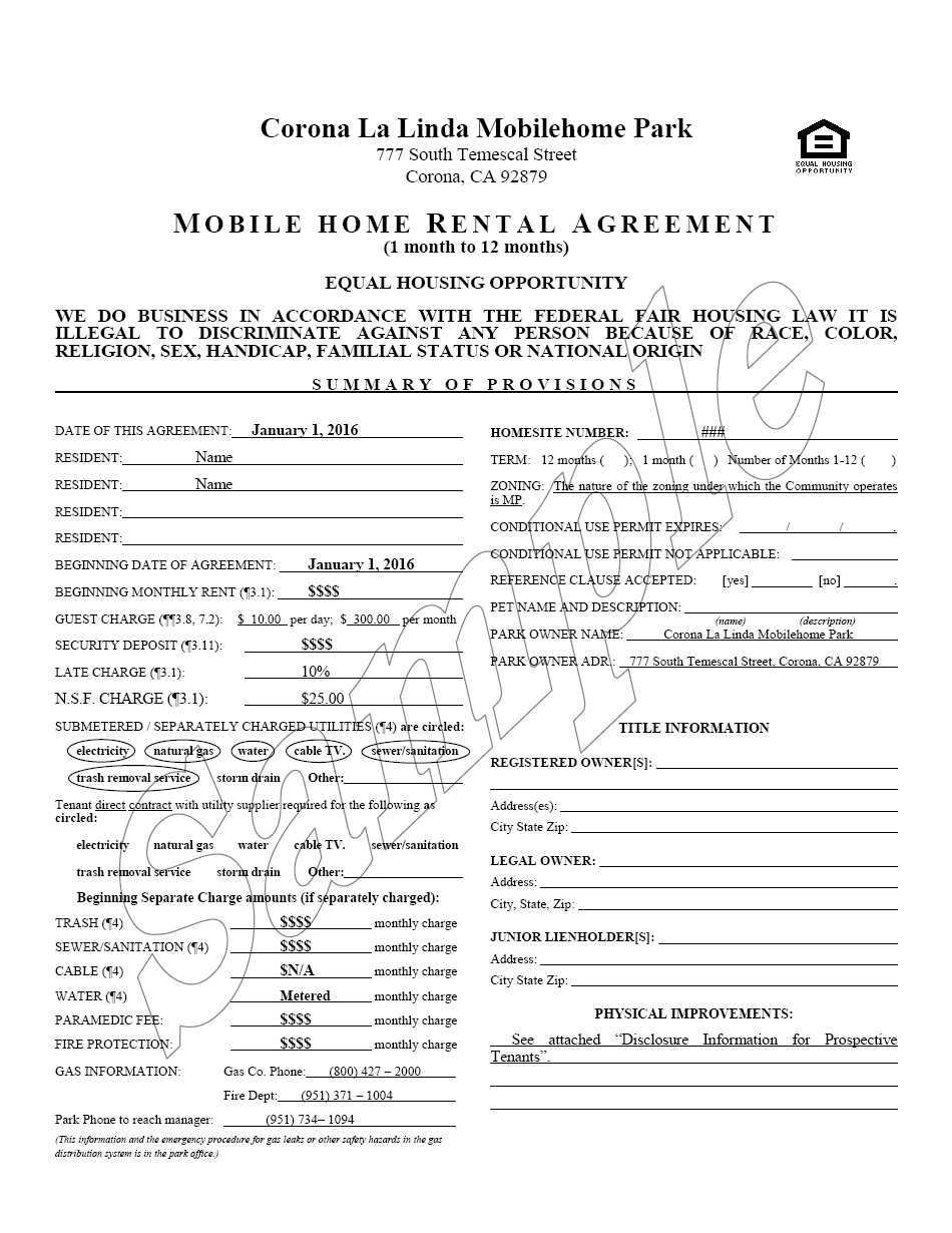 76 [ Mobile Home Park Rental Agreement Disclosure Form