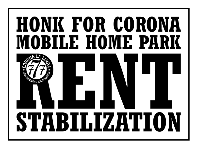 HONK FOR CORONA MOBILE HOME PARK RENT STABILIZATION