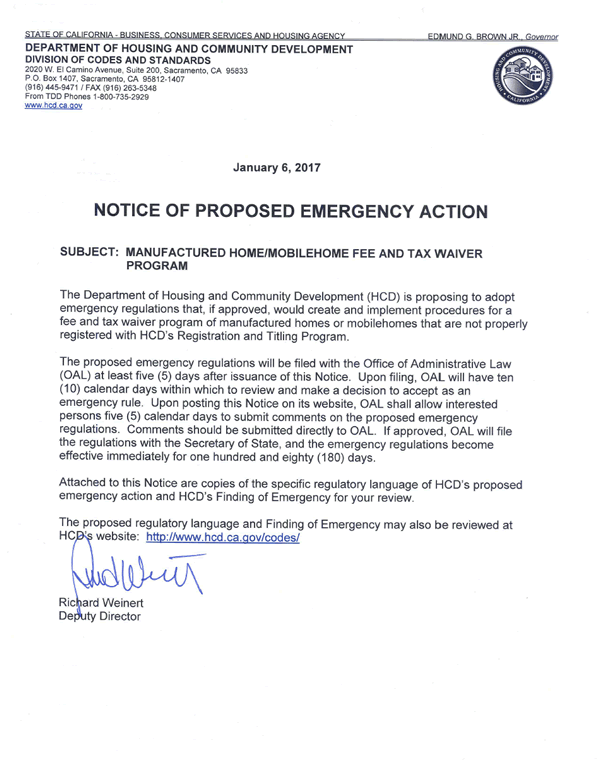AB 587 Notice of Proposed Emergency Action