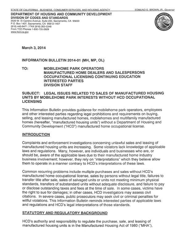 HCD Information Bulletin 2014-01 (MH, MP, OL)