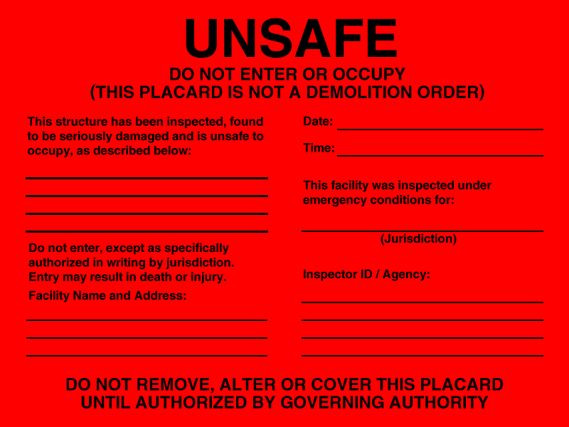 UNSAFE Placard
