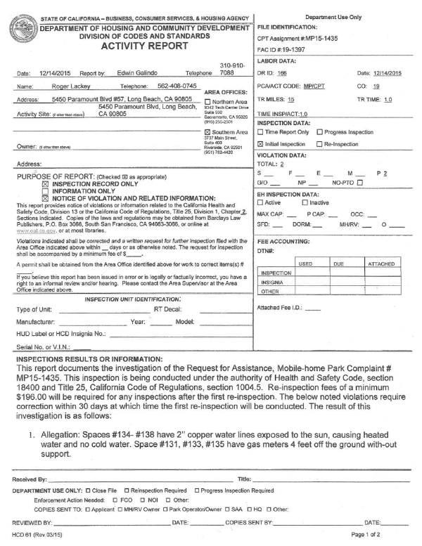 HCD Activity Report Page 1, December 14, 2015