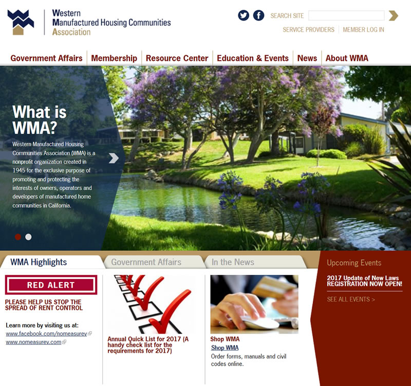 Screenshot of Western Manufactured Housing Communities Association Website Home Page