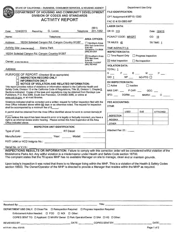 Sierra Mobile Home Park - HCD Violation Dated Fri, Dec 4, 2015
