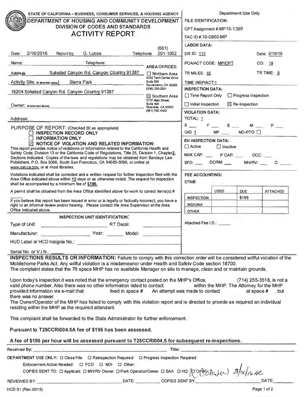 Sierra Mobile Home Park - HCD Violation Dated Tue, Feb 16, 2016 - Page 1 of 2