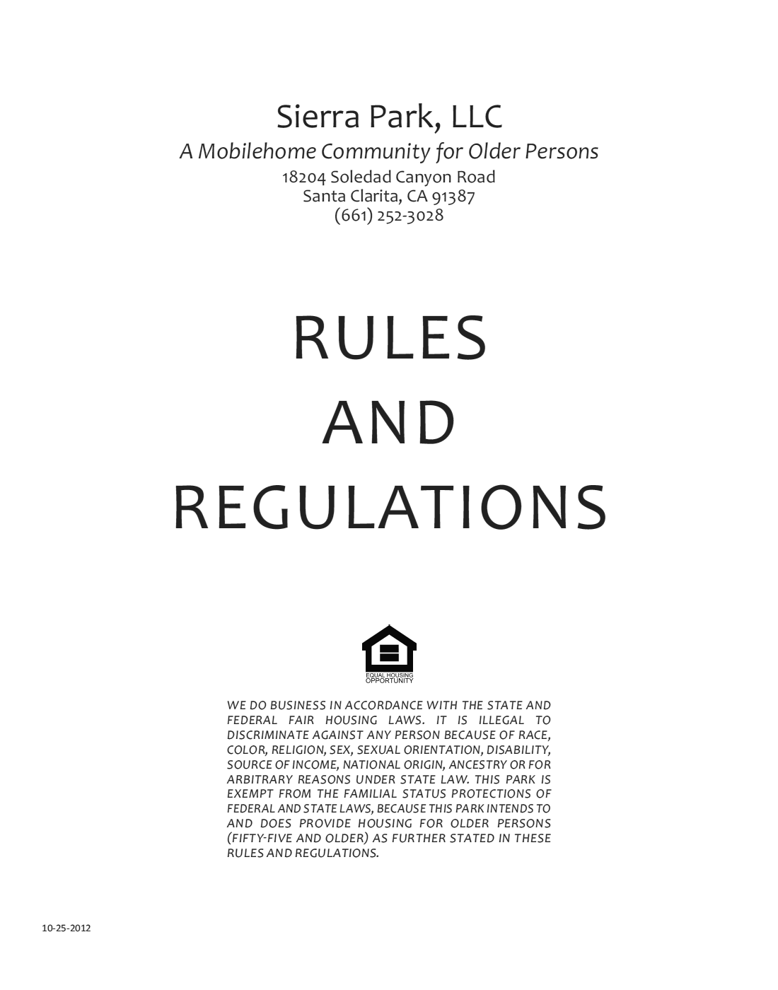 2012-10-25 - Sierra Park Rules and Regulations Cover Page