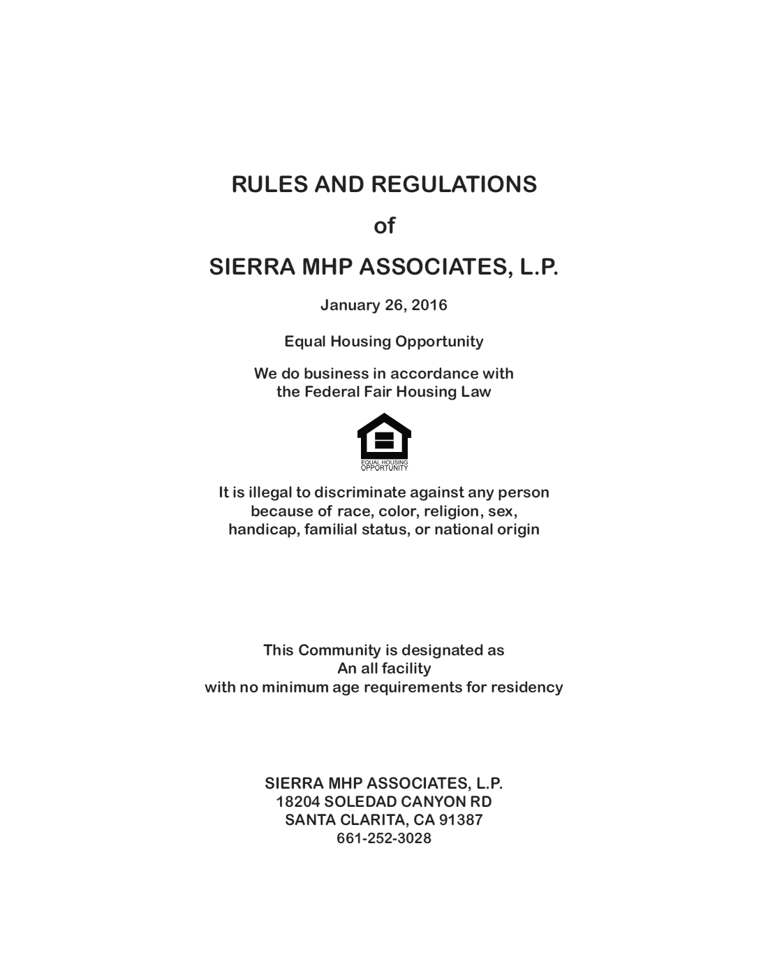 2016-01-26 - Sierra Mobile Home Park Rules and Regulations Cover Page