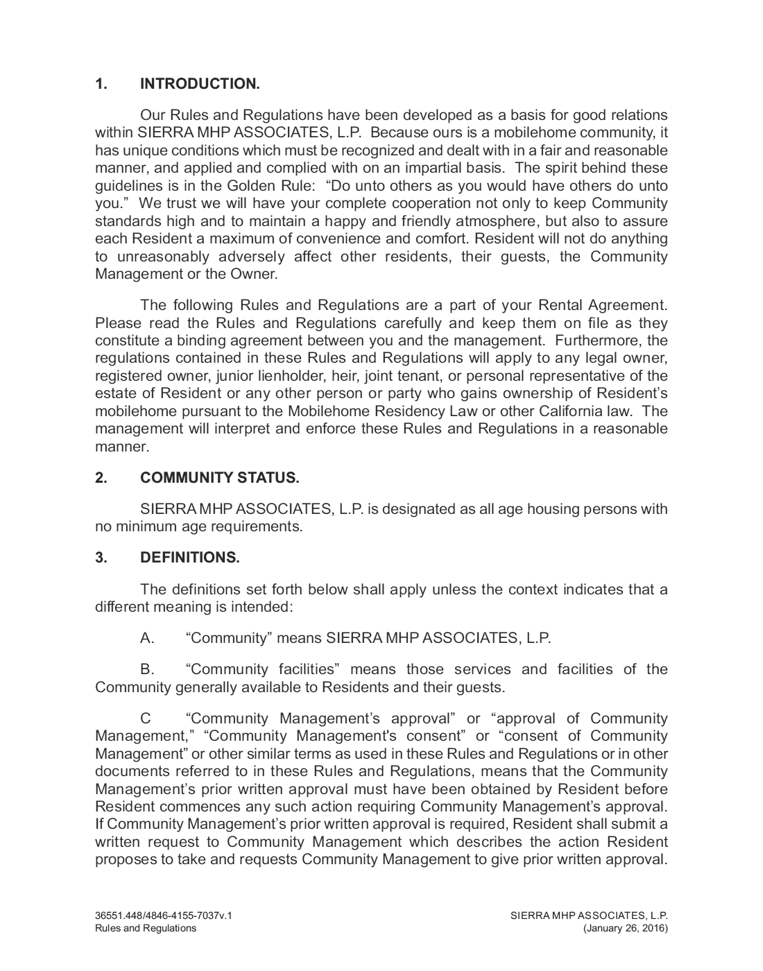 2016-01-26 - Sierra Mobile Home Park Rules and Regulations Page 1 of 38