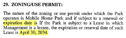 Zoning Use Permit From The Tustin Village Mobile Home