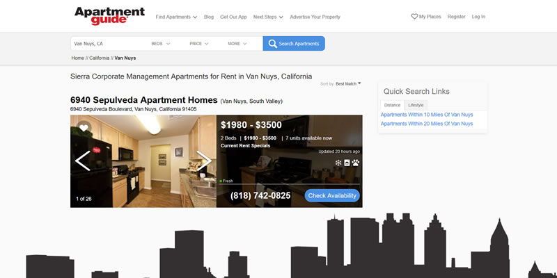 Screenshot of ApartmentGuide.com
