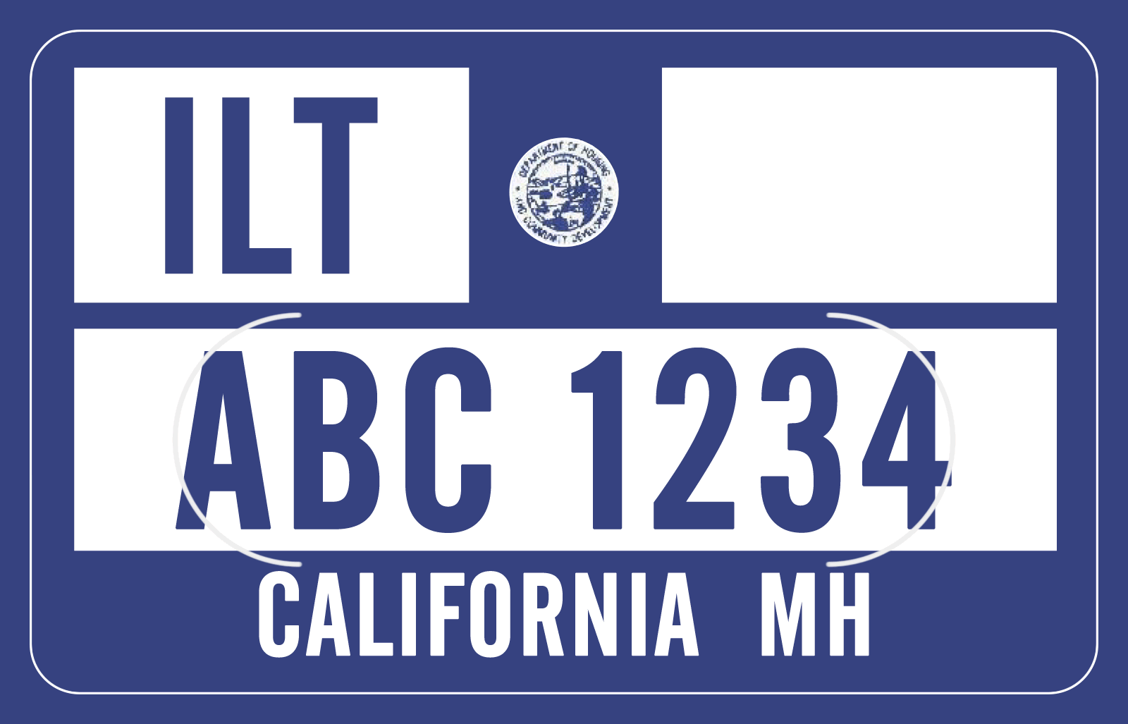 HCD Decal Number Example ABC 1234