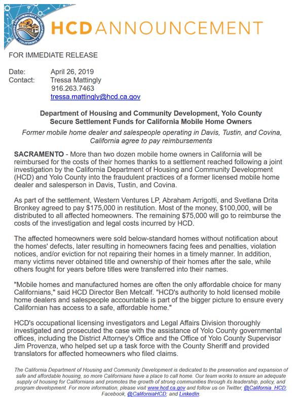 HCD Press Release 2019-04-26