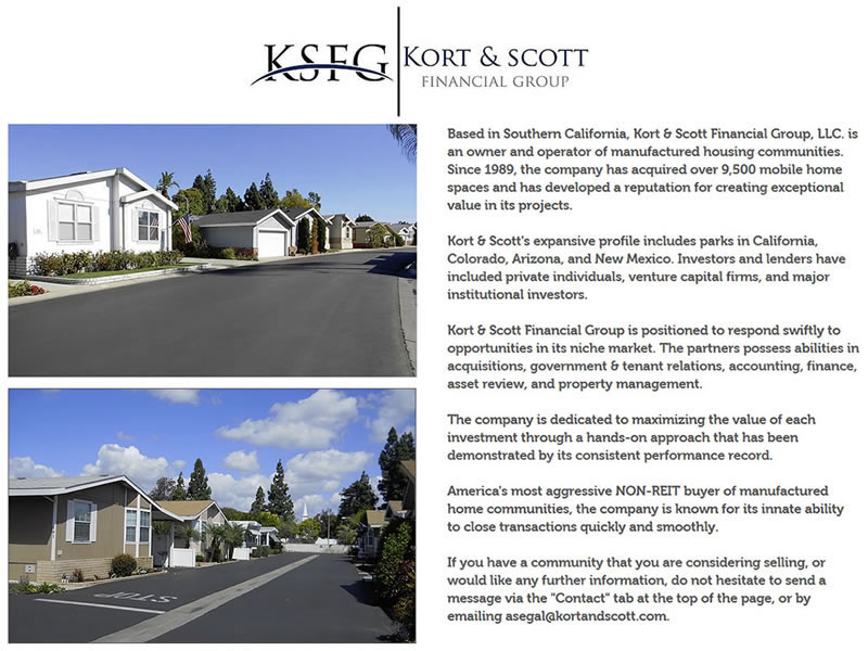 Screenshot of Kort & Scott Financial Group Website Home Page