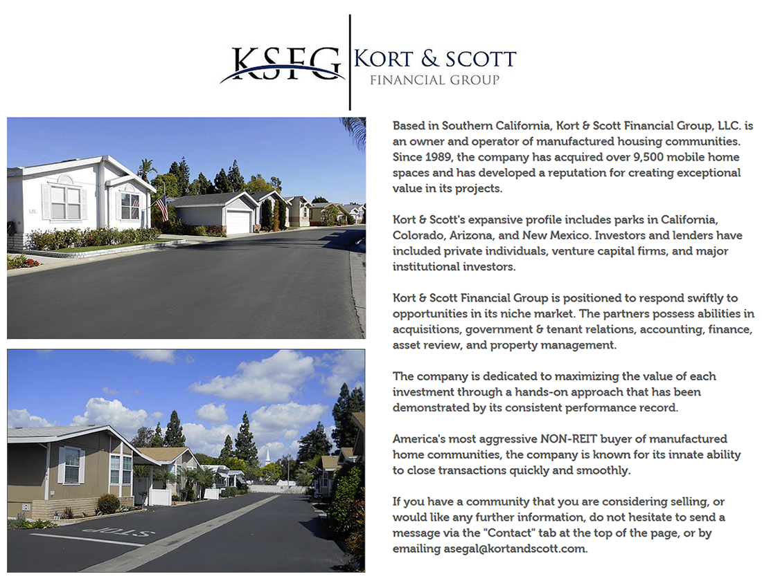 Screenshot Of Kort Scott Financial Group Website Home Page