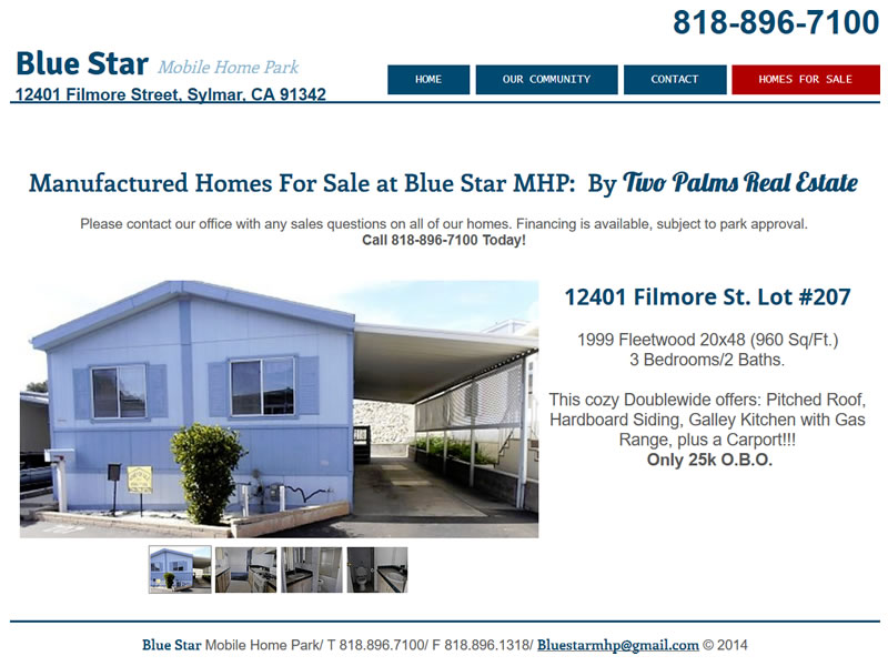 Screenshot: Mobile Homes for Sale at Blue Star Mobile Home Park in California by Two Palms Real Estate
