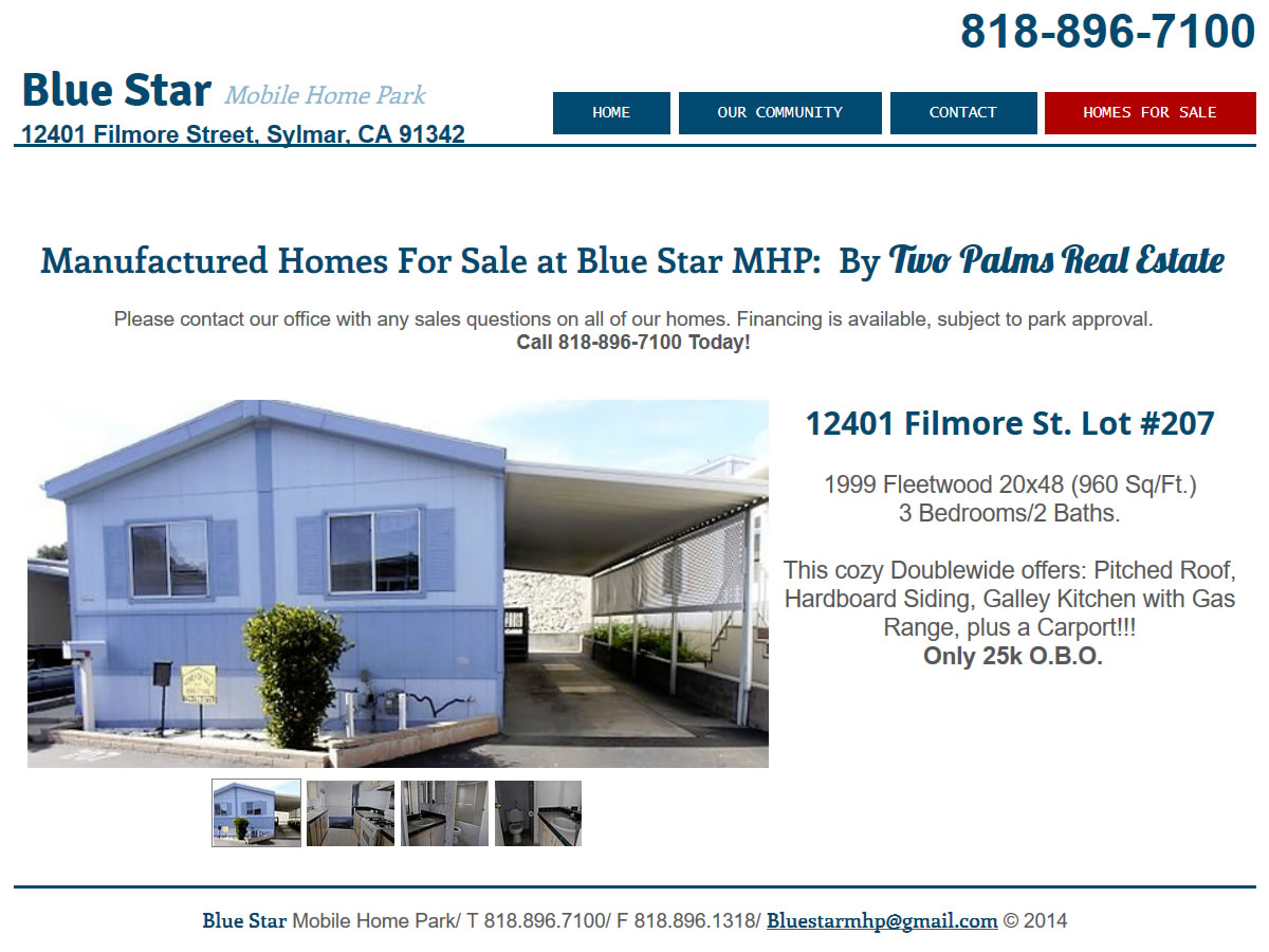 Screenshot Mobile Homes For Sale At Blue Star Home Park In California By Two