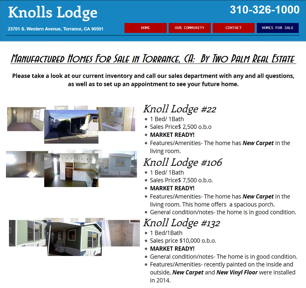 Screenshot Mobile Homes For Sale At Knolls Lodge Home Park In California By Two