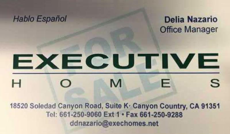 Executive Homes Business Card for Delia Nazario