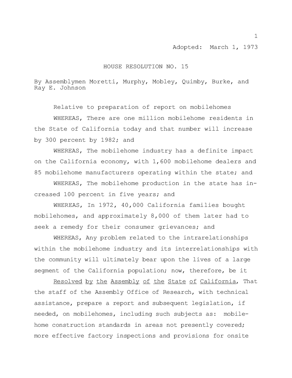 1973 - House Resolution No. 15 - Page 01