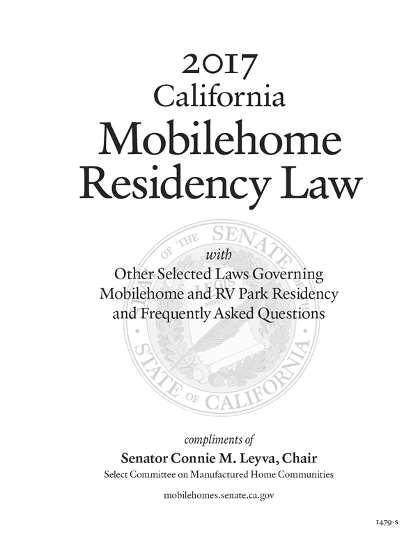From The 2017 MRL Introduction California Mobilehome Residency Law