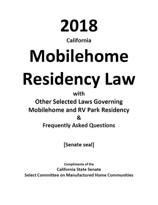 2018 California Mobilehome Residency Law