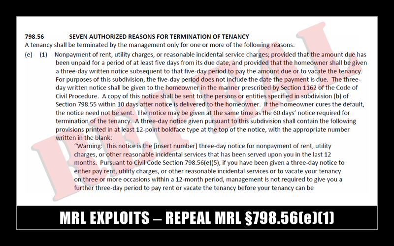 MRL EXPLOITS - REPEAL MRL 798.56(e)(1)