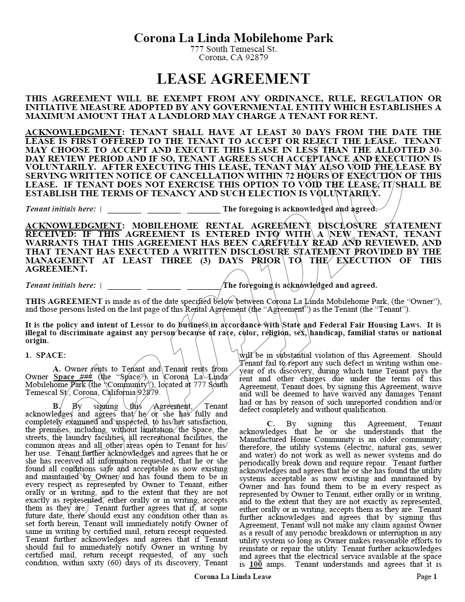 SCM Lease Agreement - Corona La Linda Mobile Home Park - Page 1