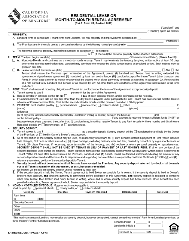 C.A.R. Form LR, Revised 2017, Page 1 of 6