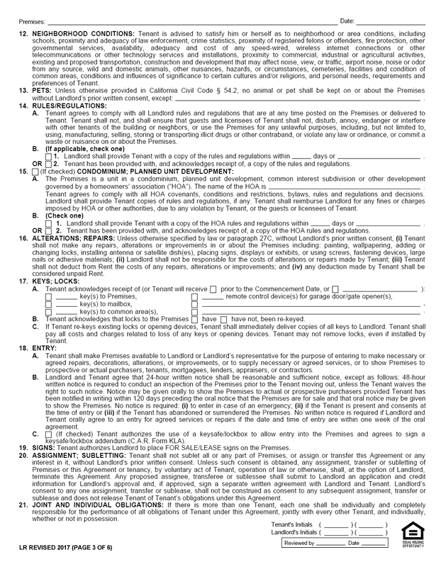 C.A.R. Form LR, Revised 2017, Page 3 of 6