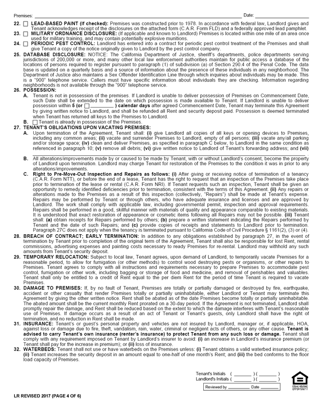 C.A.R. Form LR, Revised 2017, Page 4 of 6