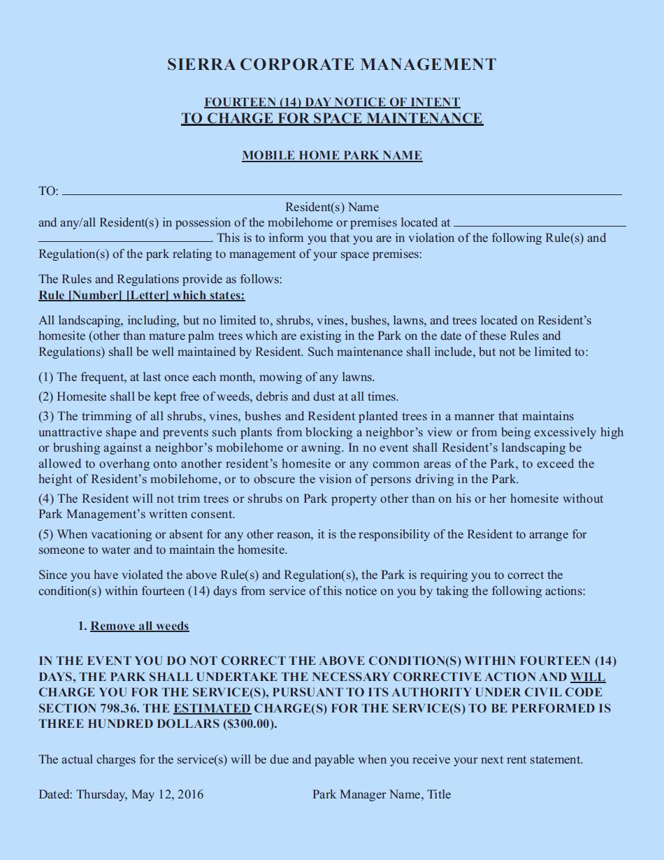 Sierra Corporate Management Fourteen 14 Day Notice Page 1 Blue
