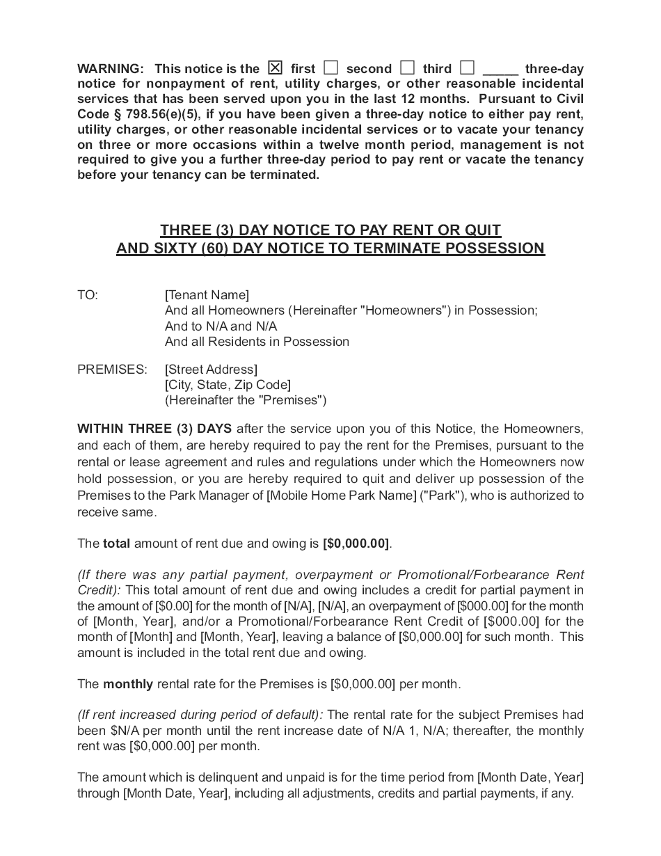 Lincoln Center GP LLC - Combined 3-Day and 60-Day Notice - Page 1 of 3