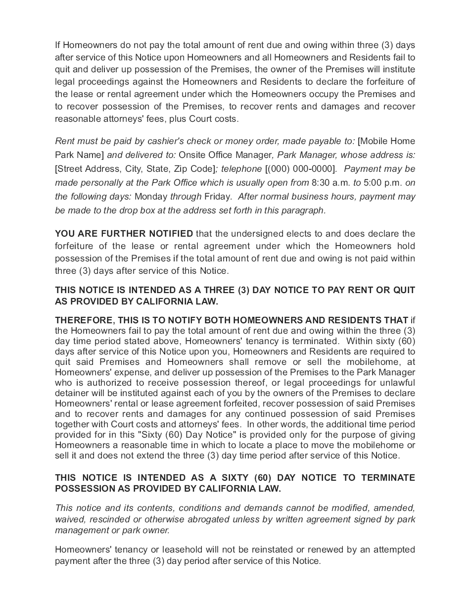 sierra corporate management combined 3 day and 60 day notice page 02 - Notice Of Lease Termination