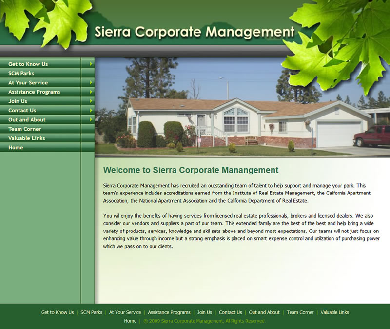 Screenshot of Sierra Corporate Management Website Home Page