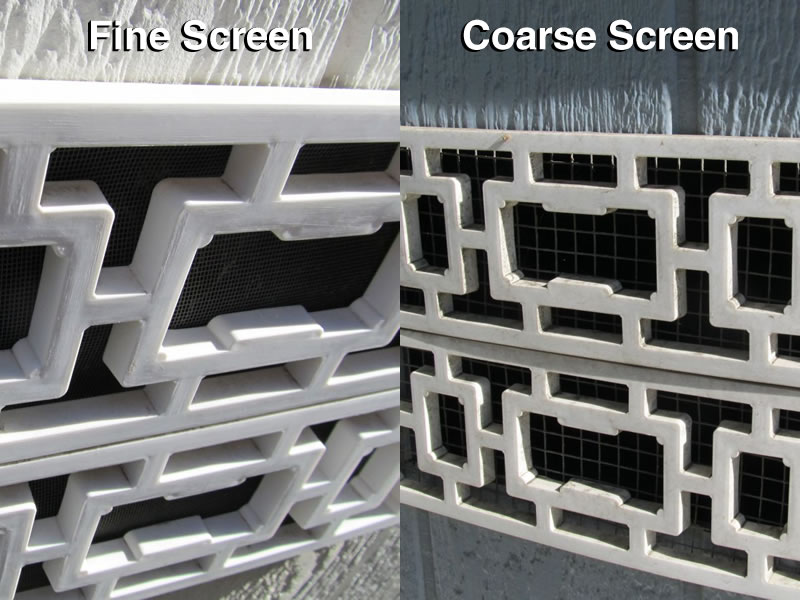 Foundation Vents with Fine and Coarse Screens
